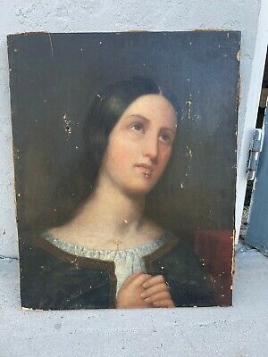 Antique Painting Oil On Canvas Or Paper On Canvas 18Th Or 19Th Century 21 X 16""