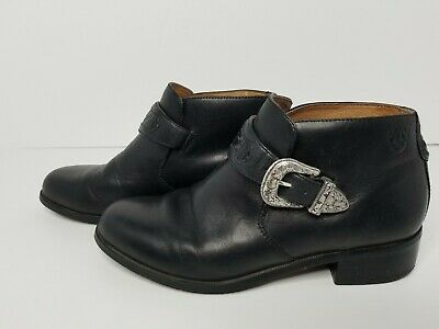 935506597b1 ARIAT WESTERN BLACK Leather US 8M Belt Buckle Monk Strap Ankle Boots ...