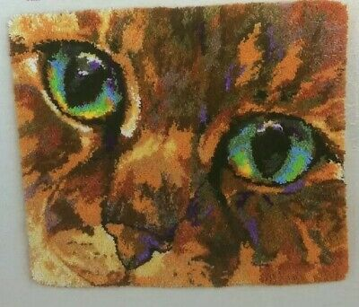 "NEW Latch Hook Kit Rug CAT EYES Zweigart Artiste Wall Hamging 29"" X 33"" Tabby"