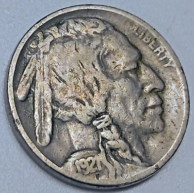 "1921 Buffalo Nickel ""2 Feathers"" Fs-401 Vg 5C Variety Cherrypickers Coin"