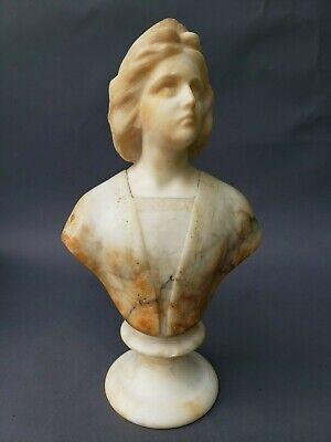 """Antique 19Th Century Carved Marble Bust On Base 15 1/2"""""""