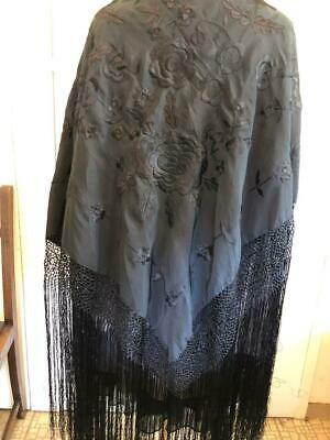 Antique Manton Spanish Flamenco Gorgeous Piano Shawl~ Black embroidered fringed