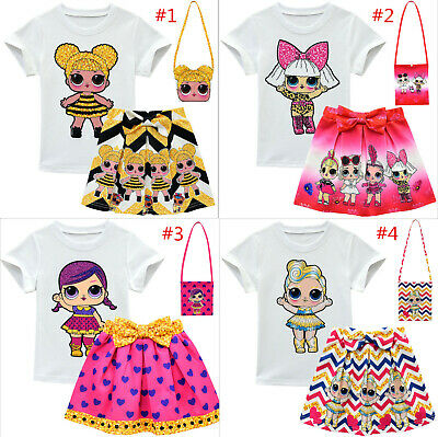 Lovely Kids Girls LOL Surprise Dolls T Shirt+Pleated Skirt + Bag 3PC Outfit Set