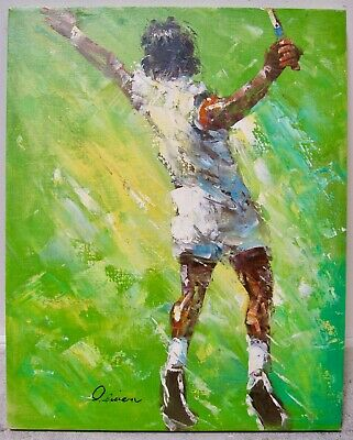 Bright Green Modern Tennis Player Painting LEROY NEIMAN Style Signed Original