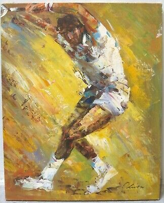 LEROY NEIMAN Style Signed Original Oil Painting Abstract Tennis Player Yellow