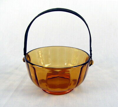 Vintage Amber Arts & Crafts Basket w/ Metal Handle Sailing Ships Nautical