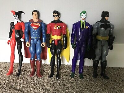 5 DC Comics Figurines Batman Robin Harley Quinn Joker Superman Plastic Toy