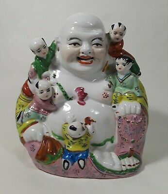 Chinese Famille Rose Porcelain Happy Buddha with 5 Children Figurine