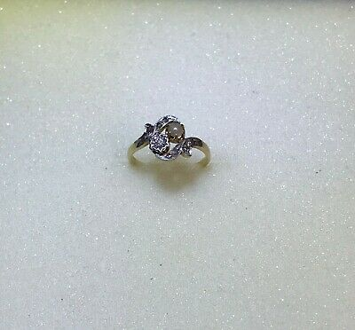 Antique Art Nouveau 18K Gold Ring With Natural Pearl and Diamonds 0.10 ct tw
