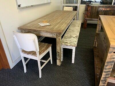 Handmade Recycled Australian Hardwood Timber 8 + Seater Dining Table Set