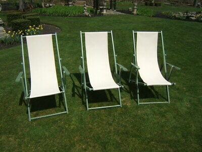 3 Vintage Painted Mahogany Seaside Canvas Lounging Chairs
