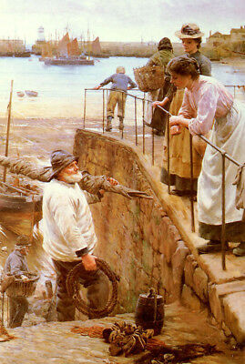 Dream-art Oil painting walter langley - between the tides figures by beach art