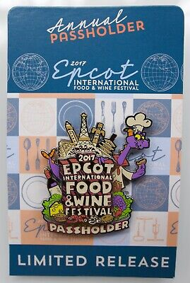 Disney Epcot 2017 Food And Wine Festival Figment Passholder Lr Pin New