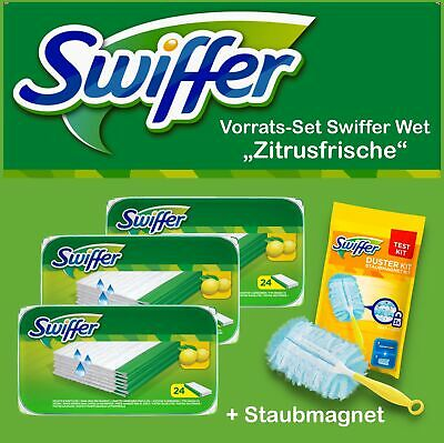 SET: 3x24er Swiffer Wet feuchte Boden Wischtücher Zitrusduft +Staubmagnet-Kit