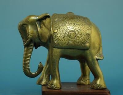 Chinese Old Hand Carving Fine Copper Carving  Elephant Statue D01