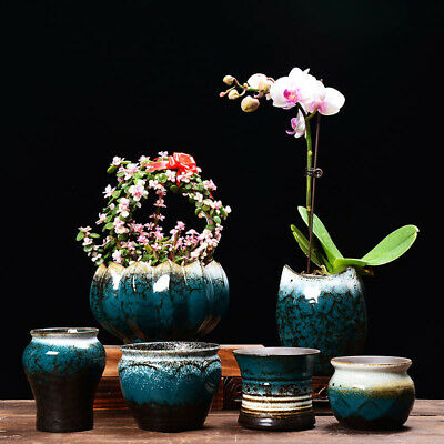 Ceramics Chinese Bonsai Flower Pot Round Succulent Glazed Planter Home Decor