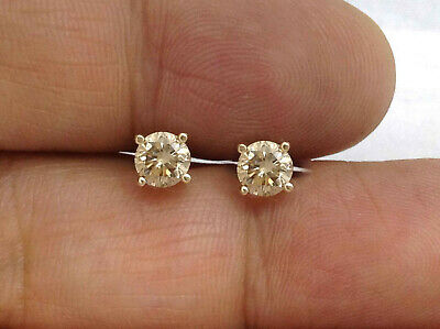 e2809bb03 0.96Ct Genuine Untreated Diamond Stud Earrings In Solid 14K Yellow Gold.  SI1-SI2