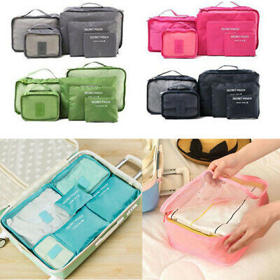 Six Pieces Set Luggage Organiser Suitcase Storage Bags Packing Travel Cubes US