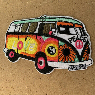1pc Combi Bus Love Peace Patch Hippy 60's 70's iron applique embroidered #1454