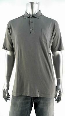 Lands End Mens size L Orange Colored Heather Button Front Polo Rugby Shirt CHOP