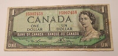 1954 Bank of Canada $1 Dollar Banknote (Lawson-Bouey) Prefix # CI 5907458
