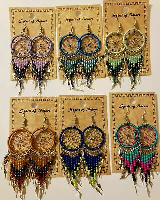 Spirit Of Nature Large Dream Catcher Bead Drop/Dangle Handmade Hook Earrings!
