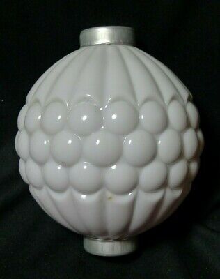 White Ribbed Grape Glass Lightning Rod Ball with end caps ~ Milk Glass