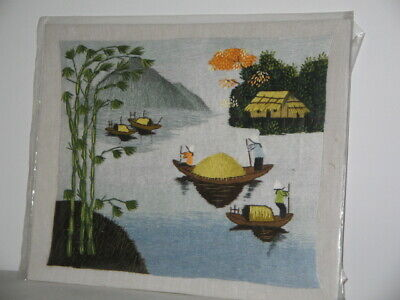 Chinese Stitched Picture Ladies In Sandpans Trees Mountain House Unframed