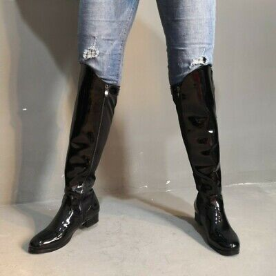 Shiny Black Knight Boots Women Tall Side Zip Knee High Boots Low Heel Round Toe