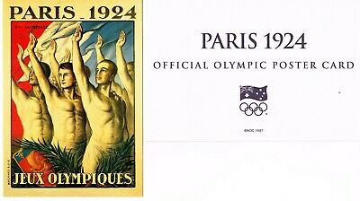 OFFICIAL AOC OLYMPIC POSTER CARD - PARIS 1924 (sealed in envelope)