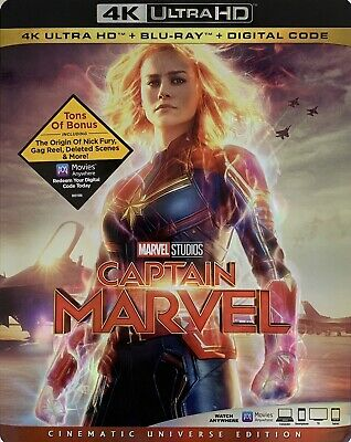 CAPTAIN MARVEL ~ 4K ULTRA HD + Blu-Ray + Digital Code  *New *Factory Sealed