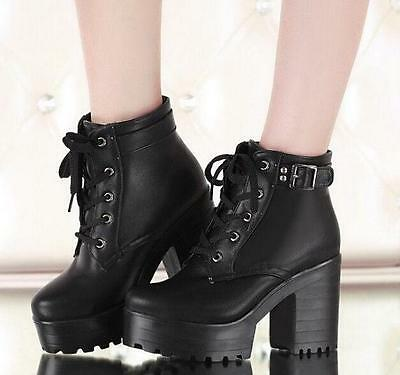 Womens Gothic Lace up Chunky High Heel Platform Punk Creeper Ankle Boots Shoes