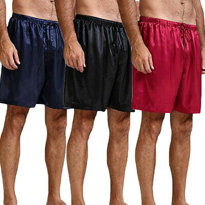 US Men's Silk Satin Pajamas Pyjamas Shorts Nightwear Sleep Bottoms Lounge Pants