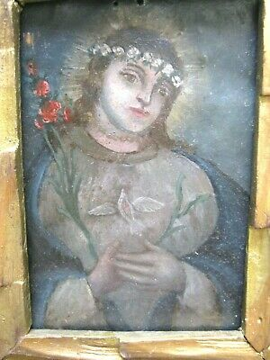 0Riginal 1800'S Retablo On Tin With The Image Of Our Lady Of Peace Framed