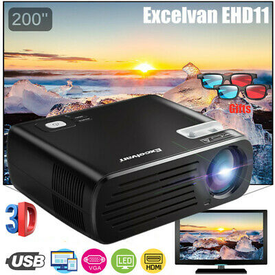 1080P HDMI Video Projector 7000 Lumens LED 3D Home Theater Games +2*3D Glasses