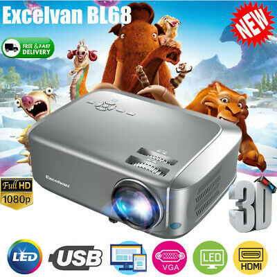 7000 Lumens HD 1080P Portable Home Theater Projector 3D LED HDMI USB Dust-proof