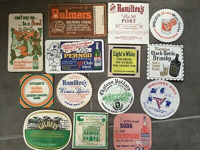Bar Coasters x 14, Wine & Spirit Brands, Vintage Double Sided Mancave Drink Mats
