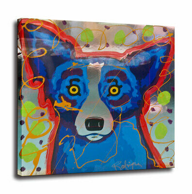 HD Print Cartoon Blue Dog Art Painting on Canvas Home Wall Deocr 24x24 Unframed