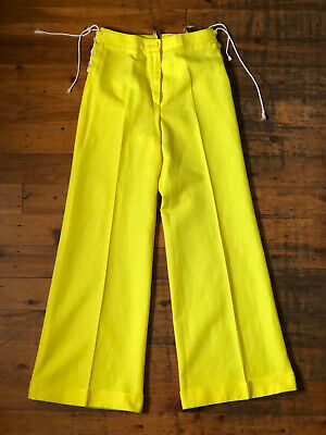 Vintage 1970s 'Bayer' yellow flares with lace up sides