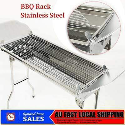 Charcoal BBQ Grill Stainless Steel Portable Outdoor Steel Rack Roaster Smoker AU