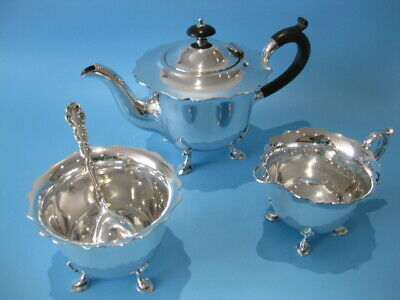 Beautiful Quality Antique Silver Plated Little Gothic Style 3 Piece Tea Service