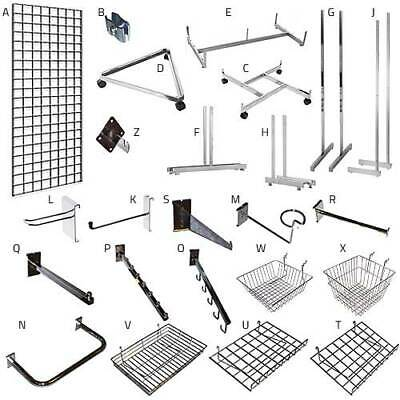 Gridwall Grid Wall Mesh Chrome Retail Shop Display Panel Accessory Hook Arm Arms
