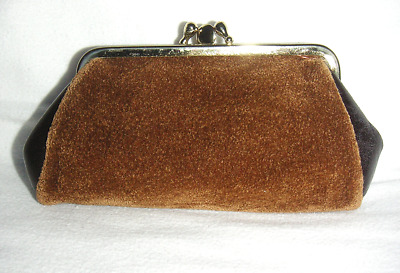 Brown Faux Suede & Leather 2 Section Top Clip Fastening Coin Purse, Small