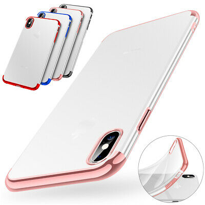 iPhone XR 8 7 Plus XS Max X Slim Plating Bumper TPU Shockproof Clear Case Cover