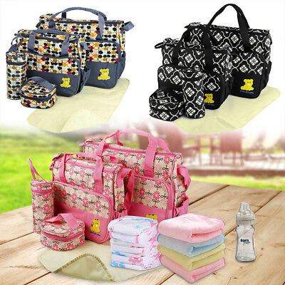 Infant Baby Nappy Changing Bag set 5PCS Cute Travel Diaper Bags Bottle Holder UK