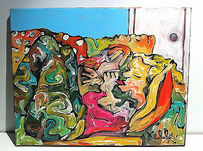 Woman on Couch Original Acrylic Abstract Impressionist Painting Artist Signed
