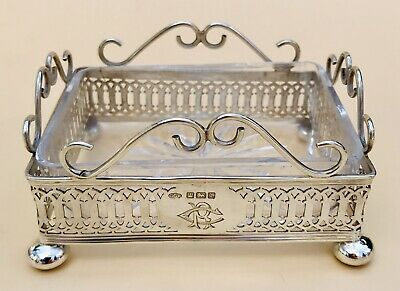 Lovely Solid Silver & Cut Glass Butter Dish, Sheff 1909