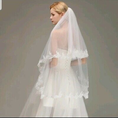 UK White Ivory 2 Tier Bridal Fingertip Length Wedding Veil Lace Edge With Comb