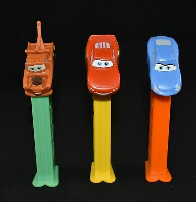 3 X Collectable Used Disney Cars Pez Dispensers Lightning Mcqueen Mater Sally