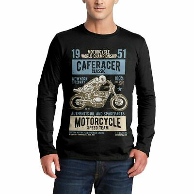 A629B Mens LS T-Shirt Caferacer Motorcycles Classic Race Speed Born To Race Cust